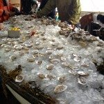 A boatload of ice with raw oysters at the Damariscotta Oyster Festival