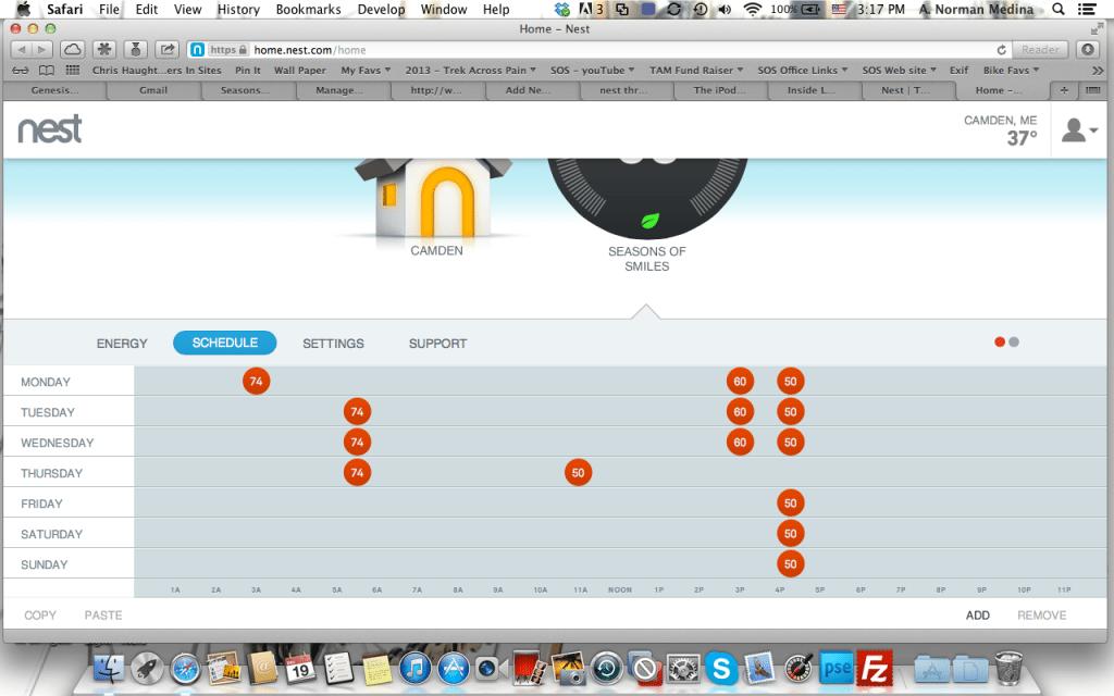 Screenshot of Nest Thermostat scheduler