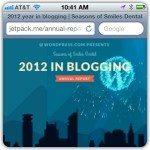 Screen Capture of Wordpress year in blogging 2012