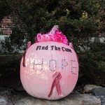 There is a pumpkin decorating contest. This one reminds us that there is hope for all those affected by cancer. The Searsport Fire Fighters all shaved their heads to raise money to help one of their family members.