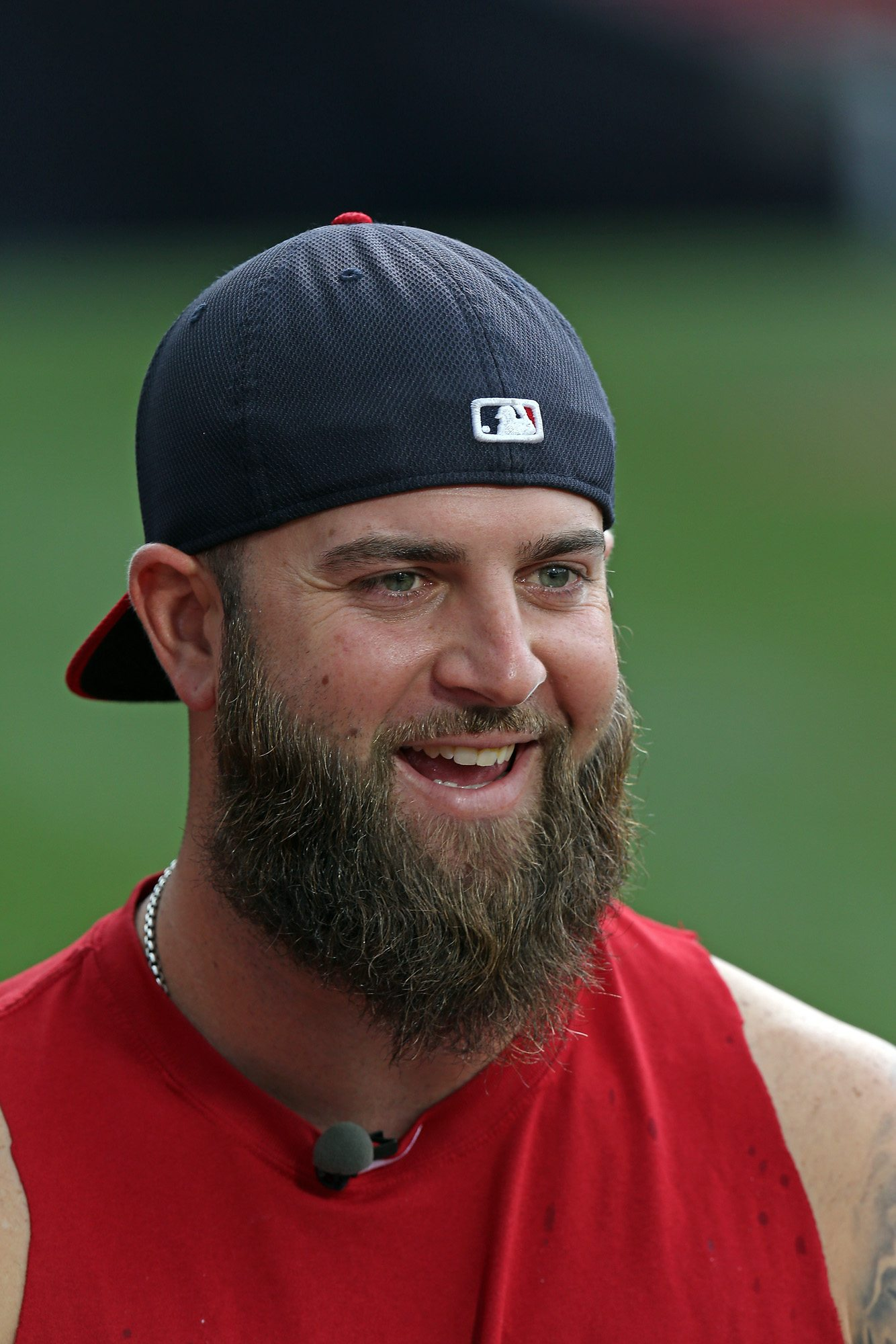 (Boston, MA,09/13/13) Boston Red Sox first baseman Mike Napoli (12) give a pre game interview as the Red Sox take on the Yankees at Fenway Park. Friday, September 13, 2013. (Staff photo by Stuart Cahill)