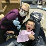 Oliver is all smiles at his last dental cleaning with Samantha