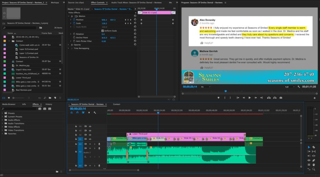 Swen Halverson Productions using Adobe Premiere Pro. Video Production for Dentists.